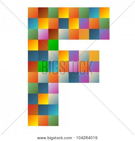 F, foxtrot letter rainbow colorful sparkling vector illustration