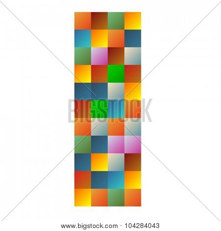I, India letter rainbow colorful sparkling vector illustration