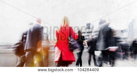 People Commuter Walking City Urban Scene Concept