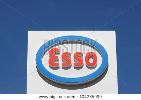 Esso logo on a gas station