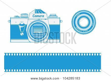 Vintage retro old film camera - Illustration