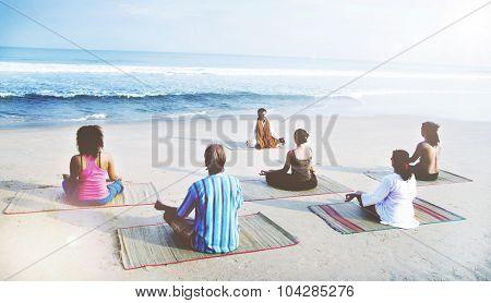 Healthy Yoga Class By The Beach Meditation Concept