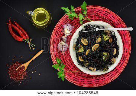 Black Pasta With Mushrooms And Spices.