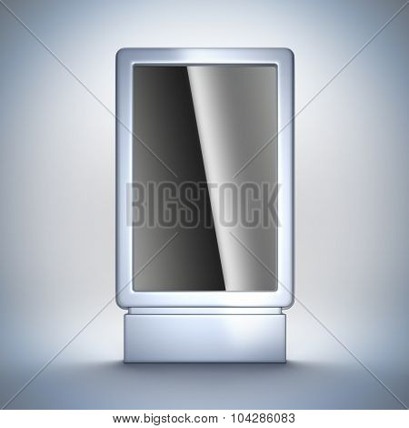 3d render illustration blank template layout of metal vertical empty billboard at white background.