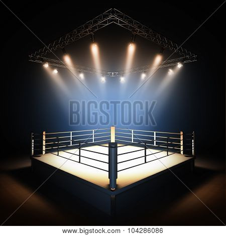 A 3d render illustration of empty professional boxing ring with illumination by spotlights.