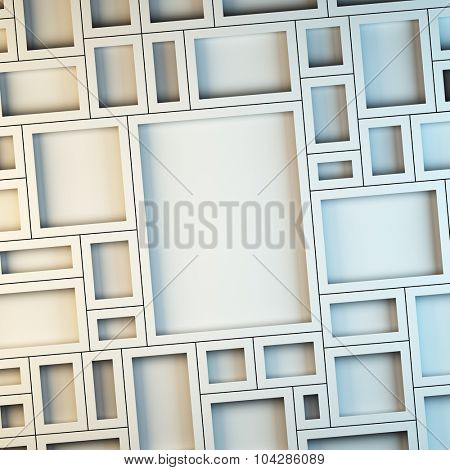 A 3d render illustration blank template layout of white empty frames at wall.