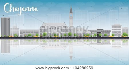 Cheyenne (Wyoming) Skyline with Grey Buildings, Blue Sky and reflections. Business travel and tourism concept with place for text. Image for presentation, banner, placard and web site.