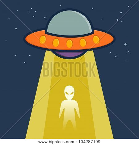 Space Ship Transfering An Alien