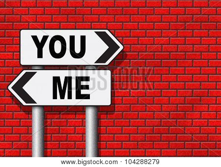 choosing between me and you, your or my opinion mariage crisis or differences leading to divorce and separation having different or separate interests and opinions