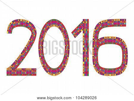 Multi Colored Numbers Of Year 2016