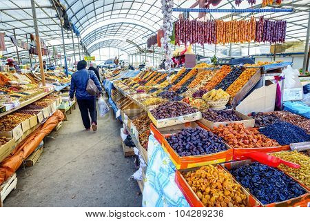 Pyatigorsk, Russia, April 3, 2015: Farmers market in the southern Russian city of Pyatigorsk is always abundant with regional produce