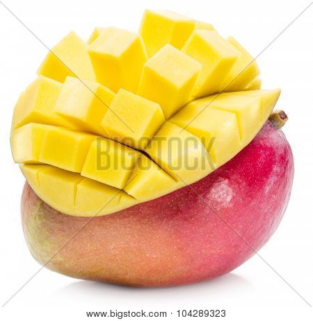 Mango fruit and mango cubes. The picture of high quality. Mango fruit and mango cubes on the white background.