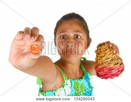 Little Girl With Basket Of Numbers For Bingo