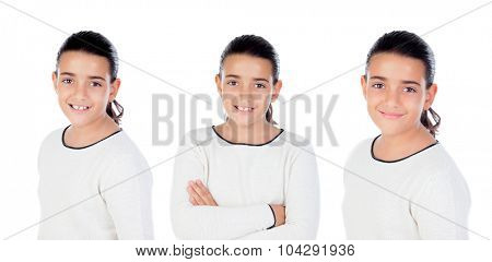 Sequence of brunette girl isolated on a white background