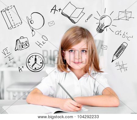 Little schoolgirl  with school  icons