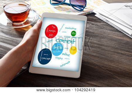Connected words on touch-screen tablet-pc