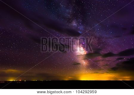 Milky Way Rising Over Badlands National Park South Dakota