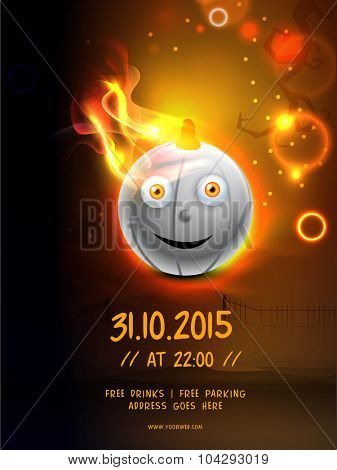 Creative template, banner or flyer with glossy scary pumpkin in fire for Happy Halloween Party celebration.