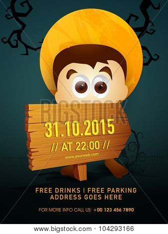 Creative template, banner, flyer or invitation with scary boy for 31 October, Happy Halloween Party celebration.
