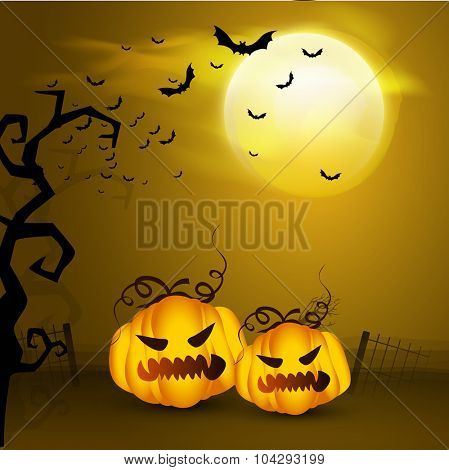 Glossy scary pumpkins on horrible night background for Halloween Party celebration.
