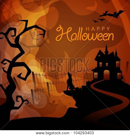 Scary night background with haunted house and screaming fox for Happy Halloween Party celebration.