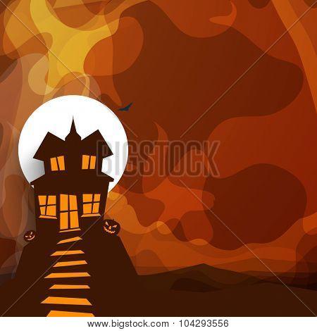 Creative illustration of a haunted house with jack o lantern on stylish background for Halloween Party celebration.