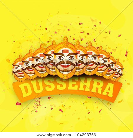 Laughing Ravana with ten heads on stylish yellow background for Indian festival, Happy Dussehra celebration.