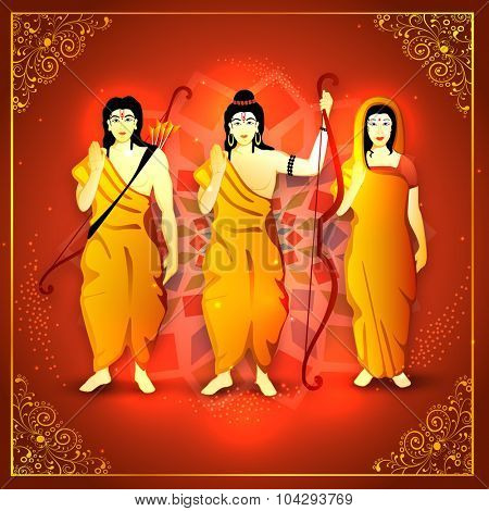 Lord Rama with wife Sita and brother Laxman on shiny floral design decorated background for Indian festival, Happy Dussehra celebration.