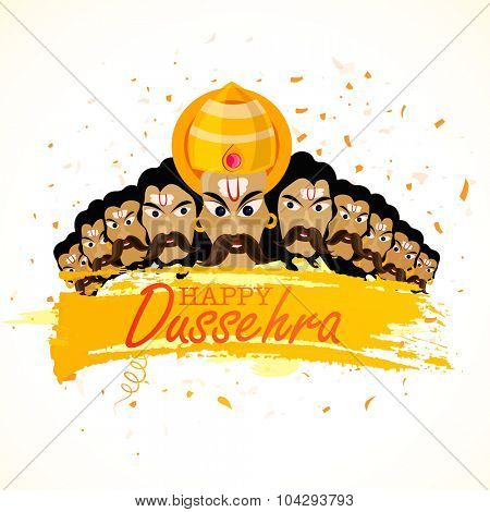 Angry Ravana with his ten heads for Indian festival, Happy Dussehra celebration.