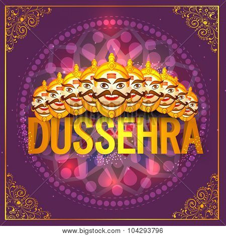 Creative illustration of smiling Ravana face on beautiful floral design decorated background for Indian festival, Happy Dussehra celebration.