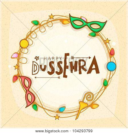 Creative stylish frame for Indian festival, Happy Dussehra celebration.