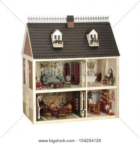 little handmade house of dolls with furniture