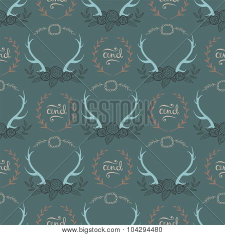 Seamless rustic  background with deer horns and branches on grey background. vector illustration