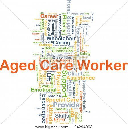 Background concept wordcloud illustration of aged care worker