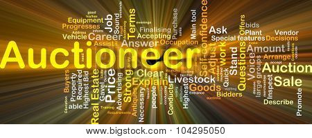 Background concept wordcloud illustration of auctioneer glowing light