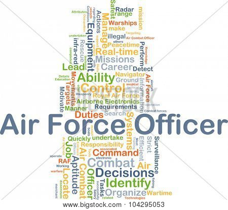Background concept wordcloud illustration of air force officer