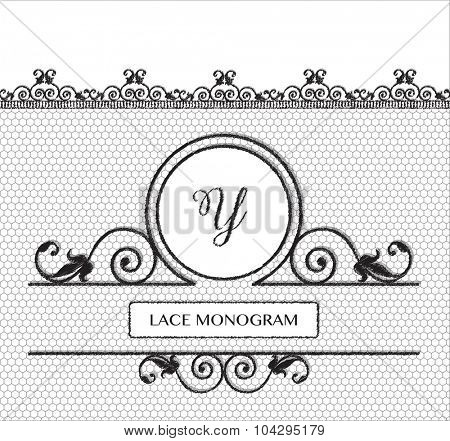Letter Y black lace monogram, stitched on seamless tulle background with antique style floral border. EPS10 vector format.