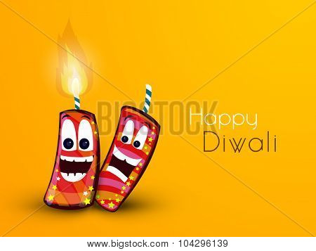 Creative funny firecrackers on yellow background for Indian Festival of Lights, Happy Diwali celebration.