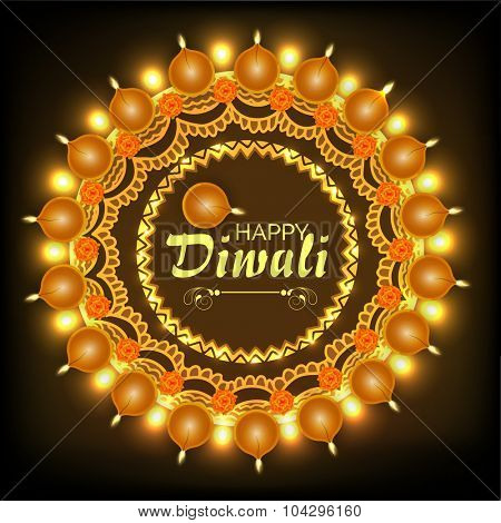 Elegant creative greeting card with traditional illuminated lit lamps on brown background for Indian Festival of Lights, Happy Diwali celebration.