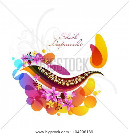 Elegant greeting card with creative lit lamp on flowers abstract background for Indian Festival of Lights, Shubh Deepawali (Happy Deepawali) celebration.