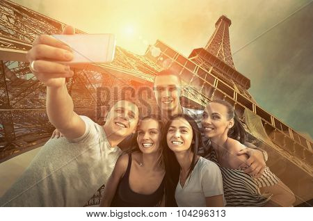 Self of Group friends on the one of the most popular travel place in world - Eiffel Tower.