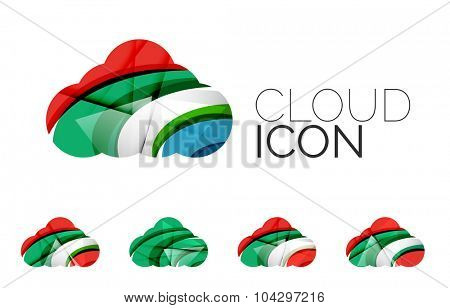 Set of abstract cloud computing icons, business logotype concepts, clean modern geometric design. Created with transparent abstract wave lines