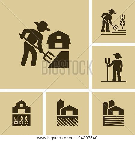 Farmer working in field Vector Farm icon