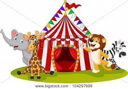 Cartoon animal circus with circus tent