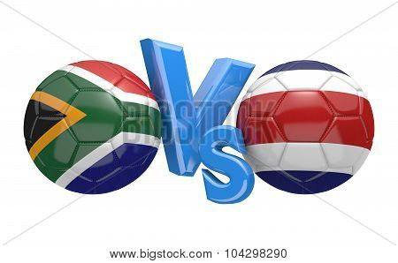 Soccer versus match between national teams South Africa and Costa Rica