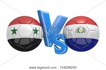 Soccer versus match between national teams Syria and Paraguay