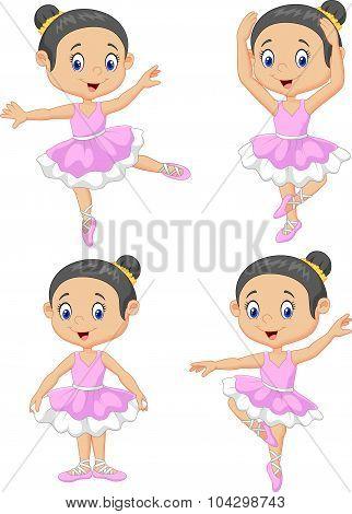 Cartoon little ballet dancer collection set