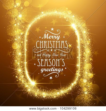 Christmas Frame background with gold magic stars. Vector illustration