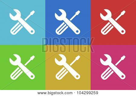 tools flat design modern vector icons colorful set for web and mobile app