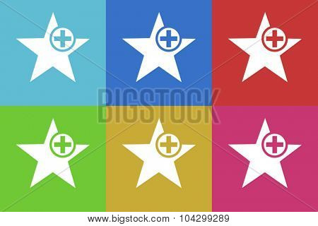 star flat design modern vector icons colorful set for web and mobile app